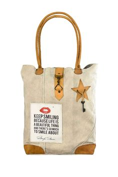 Keep Smiling Canvas Tote by Vintage Addiction on @HauteLook