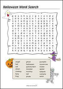 Hard Halloween Word Search for Kids