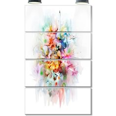 DesignArt 'Bunch of Watercolor Flowers' 4 Piece Painting Print on Canvas Set