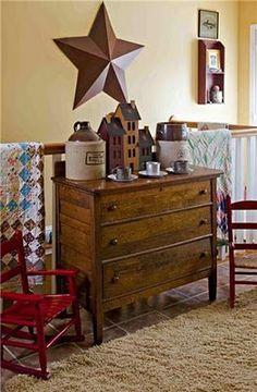 this old oak dresser.fits in any decor.this old oak dresser….fits in any decor. Primitive Living Room, Primitive Homes, Primitive Furniture, Country Furniture, Primitive Kitchen, Primitive Bathrooms, Antique Furniture, Country Farmhouse Decor, Country Primitive