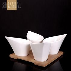 $34.08 The whispers Series - novelty ceramic the wooden pad teacup suit / four gift boxes-ZZKKO