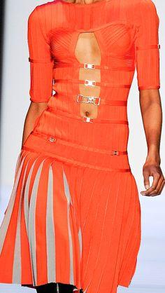 Hervé Léger By Max Azria cut out orange strap & buckle pleated skirt dress #UNIQUE_WOMENS_FASHION