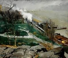 George Bellows (American, Columbus, Ohio 1882–1925 New York City). Rain on the River, 1908. Oil on canvas, 32 x 38 in. (81.3 x 96.5 cm). Museum of Art ...