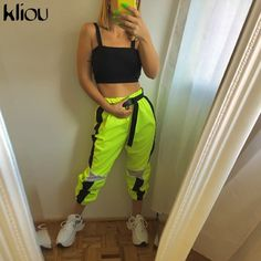 2019 Hot High Waist Active Streetwear Wide Leg Pants Spring Fashion Neon Green Pants Women's Loose Casual Straight Pants Green Joggers, Green Pants, Slim Pants, Wide Leg Pants, Cargo Pants, Jogger Pants, Casual Pants, Harem Trousers, Dance Pants