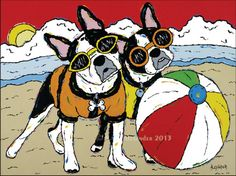 Whatcha Waiting For...Throw It! - Boston Terriers On Beach Whimsical Dog Art Print on Etsy, $25.00