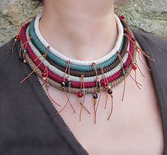 SATINKA Ethnic Tribal Country Collar Necklace by GiadaCortellini