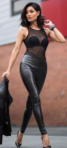 #Street #Fashion   Black Sheer Bodysuit + Leather Pants, Biker Jacket and Pumps   Micah Gianneli