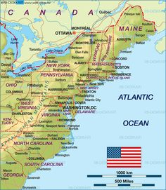 East Coast USA Map Travel On A Budget Pinterest East Coast - Map of eastern maine