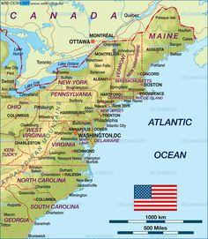 Camping east coast usa east coast map of the for Fun road trip destinations east coast