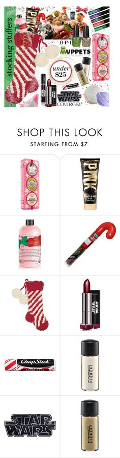 """""""Best Stocking Stuffers Under $25!"""" by parkersam76 ❤ liked on Polyvore featuring beauty, Paul Frank, Soap & Glory, OPI, philosophy, Eugenia Kim, Chapstick, MAC Cosmetics and COVERGIRL"""