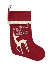 "Buy several of our  Reindeer Stocking 11x15"" to decorate your mantle.  Our stocking features a white reindeer on a red background and a ruffled edge.  http://www.primitivestarquiltshop.com/Reindeer-Stocking-11x15_p_6325.html  $7.95"