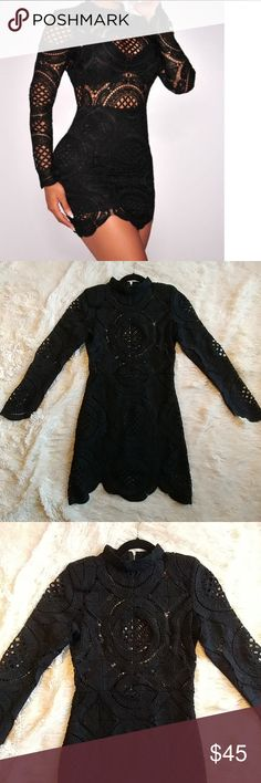 """Black Bodycon Dress Crochet Bodycon dress Long sleeve Exposed back zipper closure Shoulder pads New without tags Bust: 36"""" Lenght: 35"""" Sleeves: 25"""" Papaya Dresses Mini"""