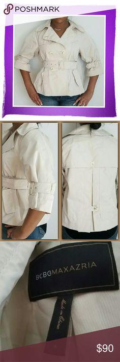 BCBG MaxAzria Lightweight Crop Jacket - Lightweight  - Buttons Down - Stops At Waist  - Like New - Belt Closure BCBGMaxAzria Jackets & Coats