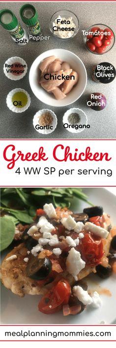 Greek Chicken - Meal Planning Mommies Ravioli, Ww Recipes, Healthy Recipes, Healthy Food, Healthy Cooking, Dinner Recipes, Zucchini, Fancy Cheese, Vinegar Chicken