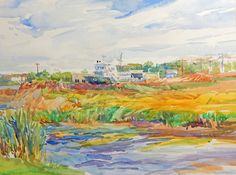 """Lesley McCaskill's fresh and lively watercolor is titled """"Moored by the Canal."""" When she paints outdoors, Lesley says, her senses are heightened. Click http://capegazette.villagesoup.com/p/paint-what-you-love-exhibit-on-display-at-gallery-one-jan-8-to-march-3/1286772 to read art article: Paint What You Love exhibit on display at Gallery One Jan. 8 to March 3"""