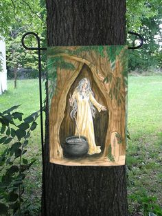 Crone of the Yew Tree Celtic Ogham Garden Flag by VoiceOfTheTrees,