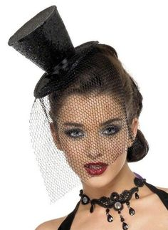 Black Glitter Mini Top Hat on Headband