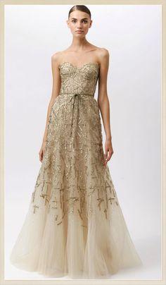 Monique Lhuillier Gold #Wedding #Dress