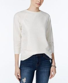 Tommy Hilfiger Eyelet Contrast Raglan Sweater, Only at Macy's - Ivory/Cream L