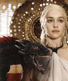 Emilia Clarke as Daenerys Targaryen and Drogon ~ Game of Thrones