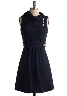 Coach Tour Dress in Bleu - Solid, Buttons, A-line, Sleeveless, Blue, Work, Casual, Fall, Mid-length, Exclusives, Best Seller, Cowl, Variation, Top Rated