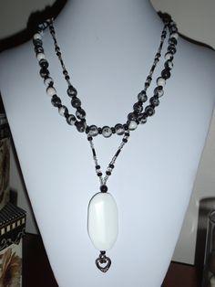 2 strand Zebra Jasper gemstone necklace silver toggle flower heart pendant black white. $25.00, via Etsy, BaileyBeadz