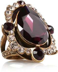 Oscar De La Renta Goldplated Crystal Ring in Purple (Burgundy)