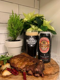Walkerville Brewery Riverside Honey Brown Ale with Slow Cooker Honey Lime Ginger Ribs. Ginger Pork, Fresh Ginger, Garlic Cloves Minced, Essex County, Complete Recipe, Honey Brown, Lime Wedge, Fresh Lime, Pork Loin