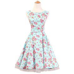 J.L.I Audrey Hepburn Style Floral Summer Elegant 50's Dress S-2XL 10 Colors/Styles