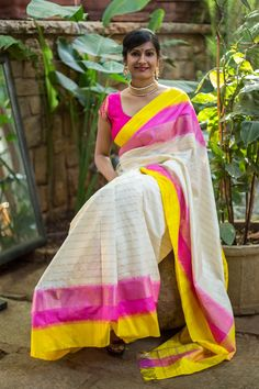 Off white pochampally pure silk saree with pink yellow border #pochampally #handloom #india #ikat #silk #houseofblouse