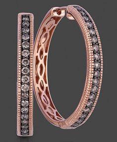 Le Vian 14k Rose Gold Earrings, Chocolate Diamond Hoops (5/8 ct. t.w.) - Earrings - Jewelry & Watches - Macy's