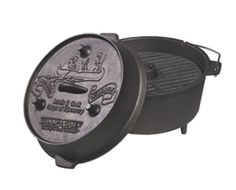 The Camp chef UDO-14 Ultimate Dutch Oven. 9 1/2 Quarts,Cast Iron. Camp Chef http://www.amazon.com/dp/B0007LNJ4Q/ref=cm_sw_r_pi_dp_PEH5vb1R1WFHK