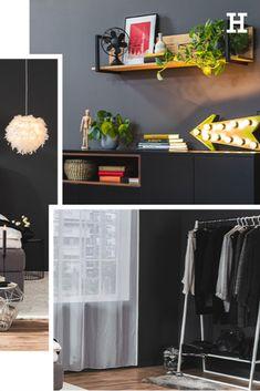 Aber welche Farbe solltest du für deine Wände wählen? Ist es nicht besser, diese weiß zu lassen? Nicht unbedingt! Verschiedene Farben bringen auch verschiedene Stimmungen mit sich. Was im Wohnzimmer passt, gehört nicht unbedingt ins Schlafzimmer oder andersherum. Wie viel Farbe verträgt ein Zuhause überhaupt? Sollte man jede Wand andersfarbig streichen? Bedroom, Living Room, Pillows & Throws, Matching Colors, Paint, Reach In Closet, Ad Home