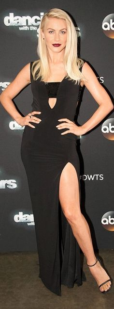 Julianne Hough in a black cutout Jovani dress at Dancing With the Stars