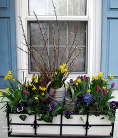 DIY Project ~ Welcome Spring! Time to change the window boxes! | Our Fairfield Home & Garden (This is a window box but it would also be a great centerpiece!