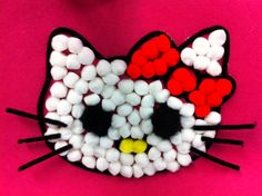 100 days of school poster board ideas | 100 Little Pom Poms become a cute Hello Kitty