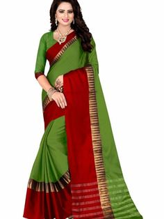 051382480003de Green Cotton Silk Saree With Blouse Piece