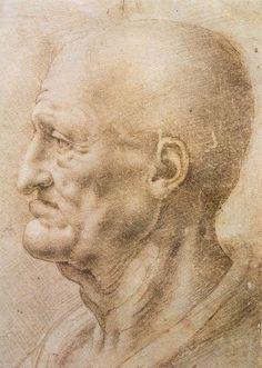 Leonardo da Vinci - Ritratto di anziano, seconda metà del XV sec. Galleria degli Uffizi - Gabinetto dei Disegni e delle Stampe.