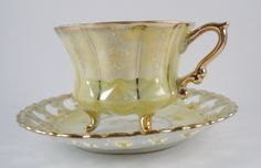 Royal Sealy  Unique Tea Cup & Saucer  Gold Yellow by MSMUnlimited