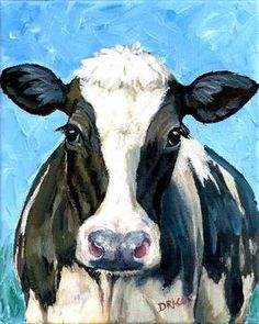 HOLSTEIN COW 2, BLACK-AND-WHITE COW WITH WHITE BLAZE, ON BLUE FARM ANIMAL ART PRINT OF ORIGINAL PAINTING BY DOTTIE DRACOS  MULTIPLE SIZES AVAILABLE (Shipping price same on ALL sizes)  1. 8x10 2. 11x14 3. 12x15 4. 13x16.25 (no borders)  Also by special order only: 5. 12x16x1.25 stretched canvas print ($85, plus $10 shipping. Contact me for availability) 6. 16x20x1.25 stretched canvas print ($108, plus $12 shipping. Contact me for availability) 7. 16x20 on luster-finish photo paper, no borders…