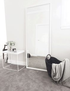 Mono Luxe styling the set for the Afterpay commercial | Contemporary, white, minimal | Floor standing mirror | Hay tray side table | White on White | Mono Luxe |
