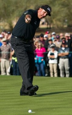 Wow!  Phil Mickelson's bid to become the sixth player in PGA Tour history to shoot 59 failed when this 25-foot birdie putt on his final hole lipped out. Mickelson, who started on No. 10, had 11 birdies, but did not birdie either of his final two holes.