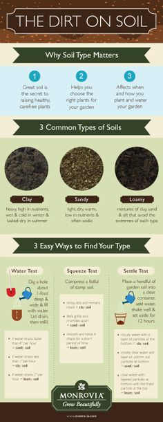The Dirt on Soil: Why Soil Type Matters. 1) Great soil is the secret to raising healthy carefree plants. 2) Helps you choose the right plants for your garden. 3) Affects when and how you plant and water your garden.