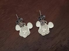 Vintage Silver and Brass Mixed Bi-Metal Bee And Flowers Hand Painted Insects Botanical Dangle Earrings