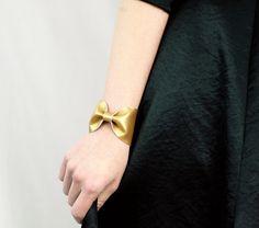 Bow Bracelet Gold Bowtie Cuff Metallic Faux by ForgottenCotton