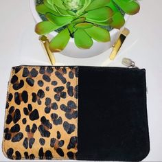 Prune Bags | Prune Leopard Print And Black Zip Clutch | Poshmark Solid Black, Black And Brown, Polka Dots, Zip, Outfit, Prints, Bags, Things To Sell, Outfits