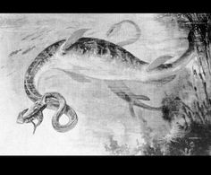 Elasmosaurus  by Charles R. Knight (1874-1953)  from Life of a Fossil Hunter  1909 United States