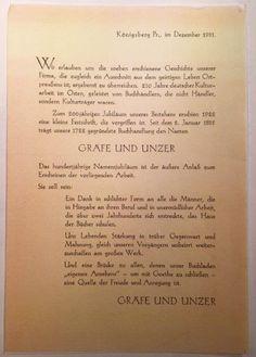 """Königsberg i. Pr. - Buchhandlung Gräfe & Unzer am Paradeplatz 6, Widmungsblatt in der Festschrift zum hundertjährigen Namensjubiläum von Kurt Forstreuter: """"Gräfe & Unzer - Zwei Jahrhunderte Königsberger Buchhandel"""", 1932"""