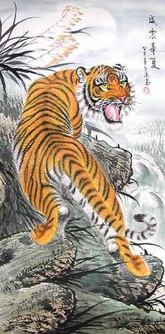 Chinese Tiger Painting - This is an Original Painting by Wen Ning