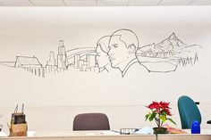 Outline of a volunteer's mural at campaign headquarters in Chicago
